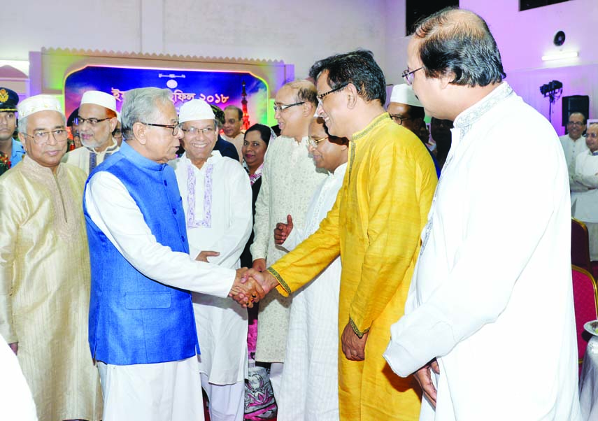 President Abdul Hamid joined an Iftar Mahfil hosted by Chief Justice Syed Mahmud Hossain on the Supreme Court premises and exchanging pleasantries on Thursday.