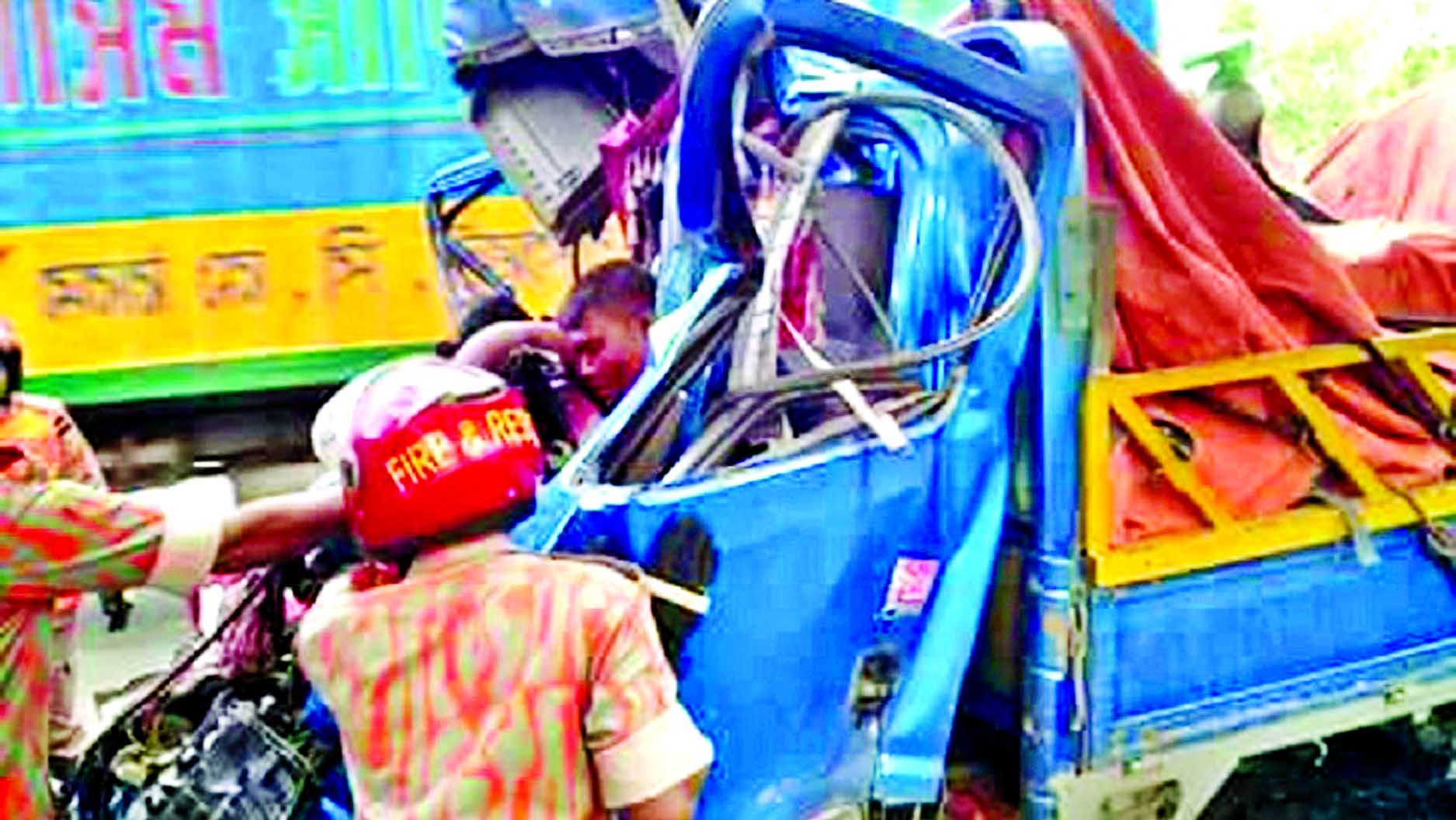 Two persons were killed including driver on the spot when a goods laden pickup van hits a truck at Gul Ahmed Jute Mills area in Sitakunda on Friday.