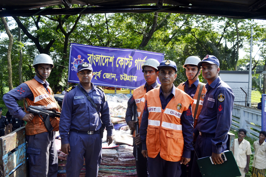 Members of Coast Guard , East Zone recovered huge amount of foreign sarees at Rahmatganj Anderkillah Bazar on Thursday.