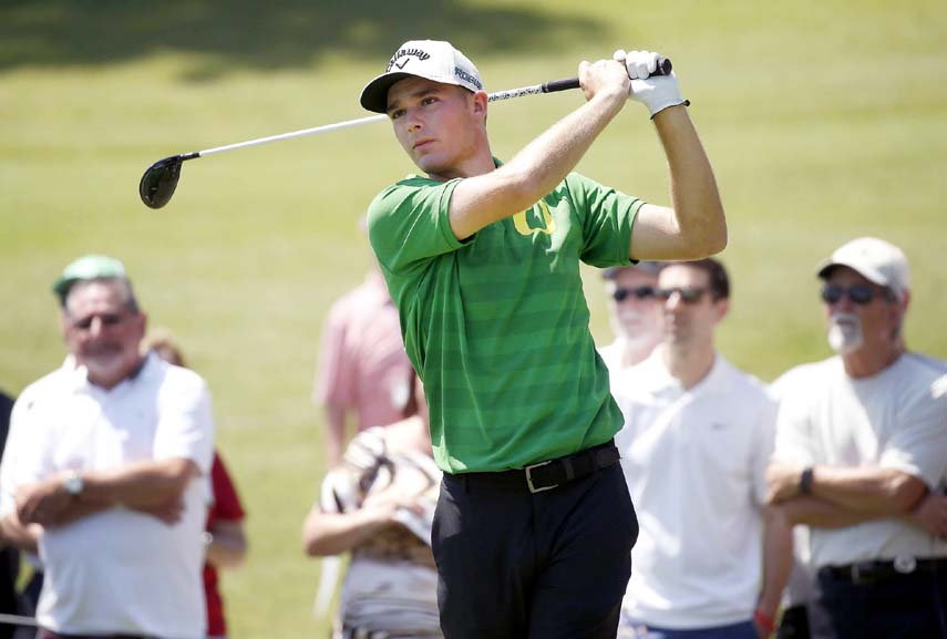 Aaron Wise watches his tee shot on No. 7 during the second round of the Fort Worth Invitational golf tournament at Colonial in Fort Worth, Texas on Friday.
