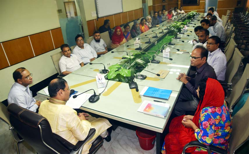 CCC Mayor A J M Nasir Uddin speaking at a view exchange meeting with Principal and  Teachers of Fatehabad Degree College on Saturday.