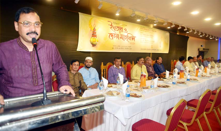 CCC Mayor A J M Nasir Uddin speaking at an Iftar Mahfil of Bangladesh Medical Association at the Port City on Friday.