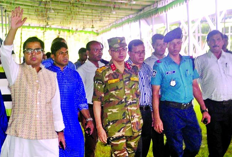 Mayor of Dhaka South City Corporation Sayeed Khokan visited Jatiya Edgah on Thursday to witness preparation for holding main Eid jamaat.