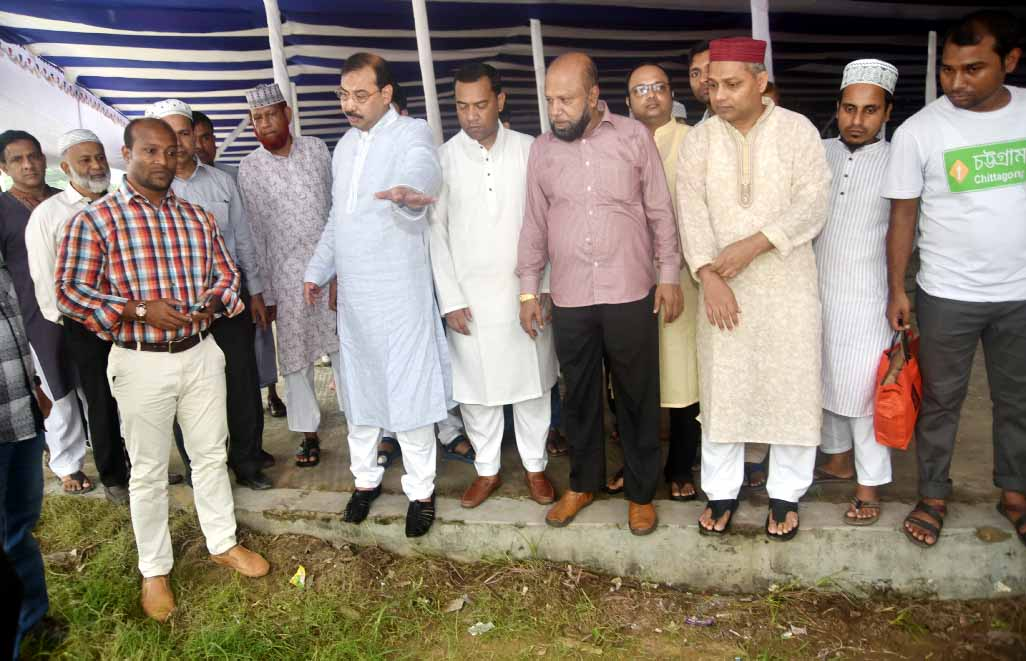 CCC Mayor A J M Nasir Uddin  inspecting preparation works  of Eid Jamat at the Jamiyatul Falah Eidgah on Friday.