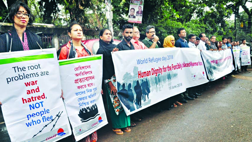 Different organisations formed a human chain in front of the Jatiya Press Club on Tuesday demanding immediate repatriation of Rohingya refugees.