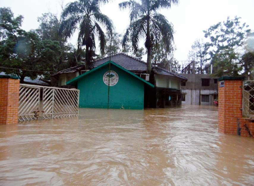 Khagrachhari Zila Parishad premises  has been in undated due to heavy rainfall of recent days.