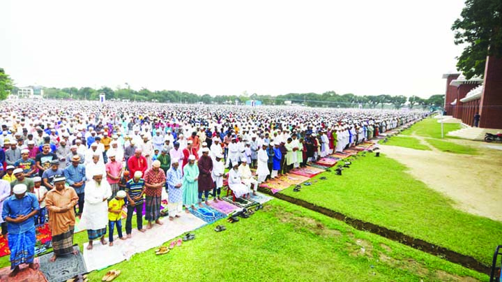 DINAJPUR: The biggest Eid-ul - Fitr Jamat of Dinajpur  was held at historic Gor-e-Shaheed Baro Maidan on Saturday.