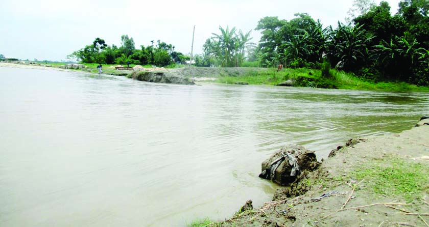 JAMALPUR: Low–lying areas at Chinaduli Union in Islampur Upazila have been submerged due to dam collapse of Jamuna River. This snap was taken on Wednesday.