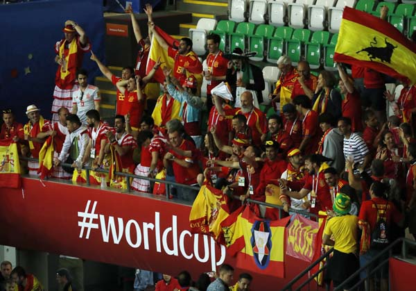 Spain fans celebrate after Spain defeated Iran 1-0 in their group B match at the 2018 soccer World Cup at the Kazan Arena in Kazan, Russia on Wednesday.