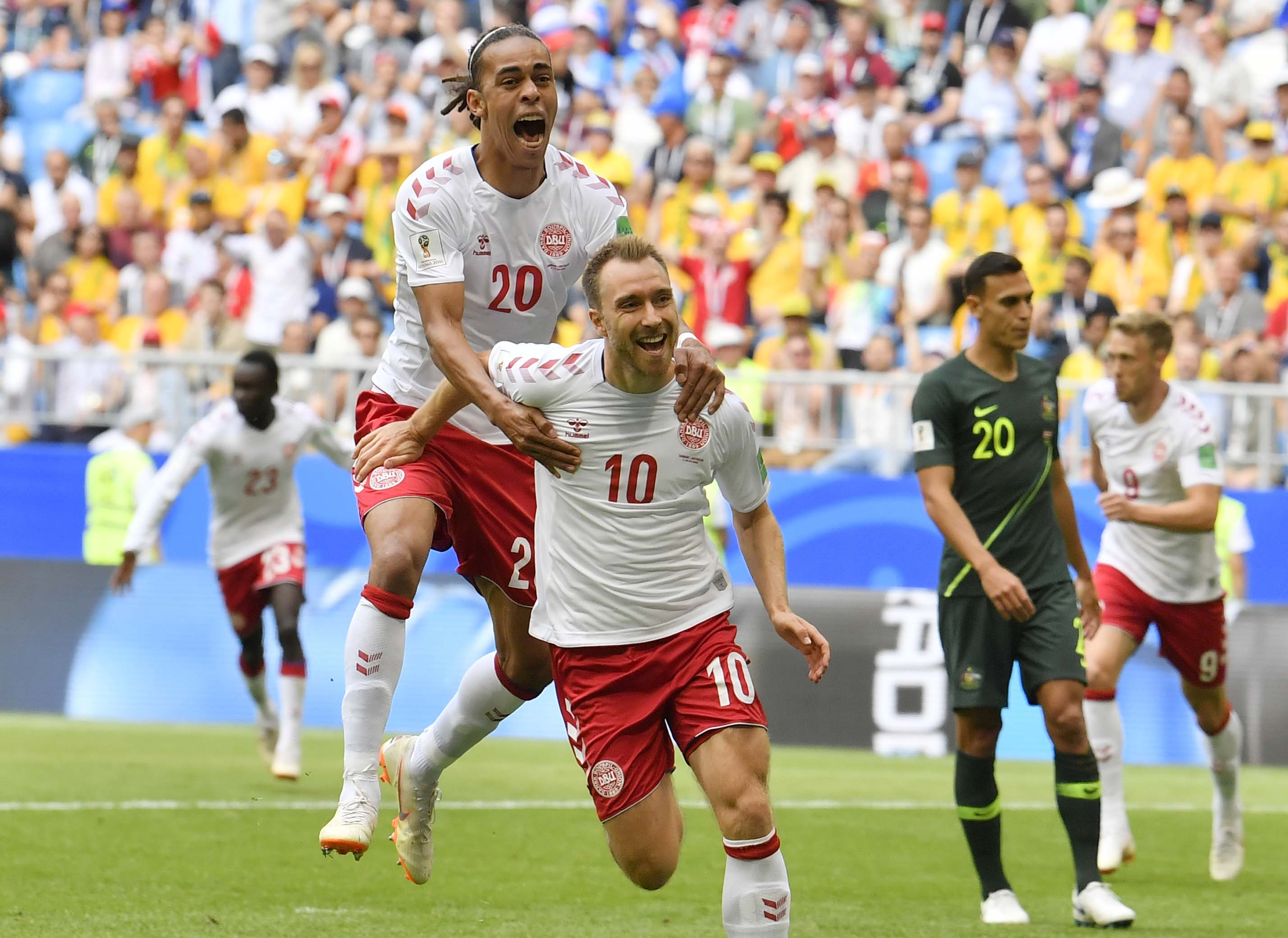 Denmark`s Christian Eriksen is congratulated by his teammate Yussuf Yurary Poulsen after scoring the opening goal during the group C match between Denmark and Australia at the World Cup match in Samara, Russia on Thursday. Denmark, Australia match ended 1-1 draw.