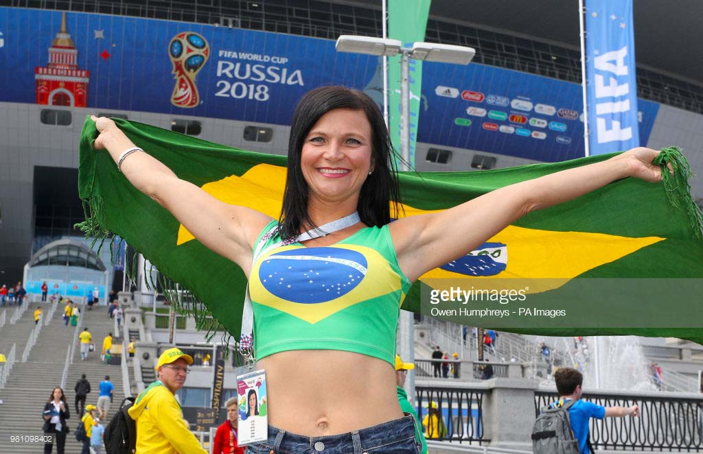 A Brazil fan shows her support ahead of the FIFA World Cup Group E match at Saint Petersburg Stadium, Russia on Friday. Brazil won the match 2-0 against Costa Rica on Friday.