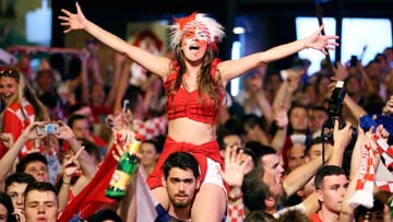 Croatia`s fans celebrate after the match on Thursday.