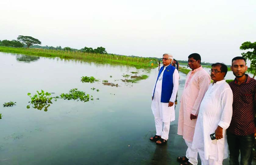 SYLHET: Flood situation in Balaganj Upazila in Sylhet has worsened further. Awami League leaders including Organising Secretary Adv Misbauddin Siraj  visited the flood-hit areas yesterday.