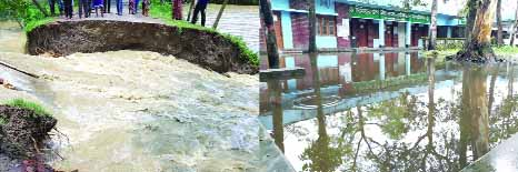 SYLHET: Different areas including Balaganj Upazila Parishad premises were submerged as Kushiyara River dam has been collapsed. This picture was taken yesterday.