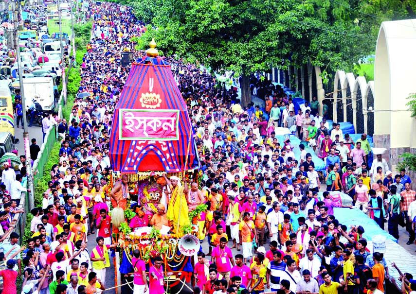 International Society for Krishna Consciouness brough out a rally in the city on Saturday on the occasion of Rathyatra, a religious festival of the Hindu Community.