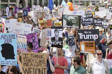 Hundreds stage anti-Trump protest in Scottish city