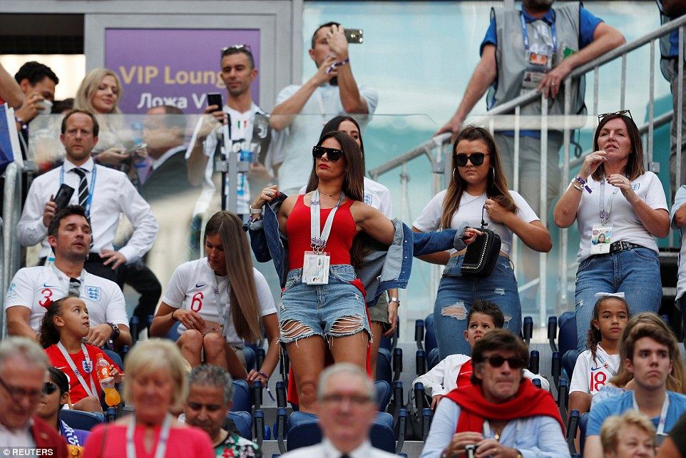 Rebekah Vardy watches the action as England line up for their last game of the 2018 World Cup in Russia.