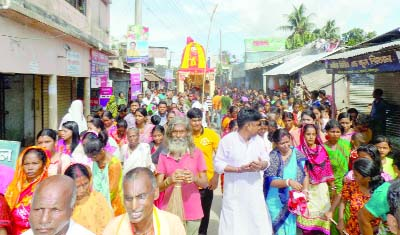 DINAJPUR(South): A rally was brought out by people Hindu community in observance of the Ratha Yatra on Saturday.