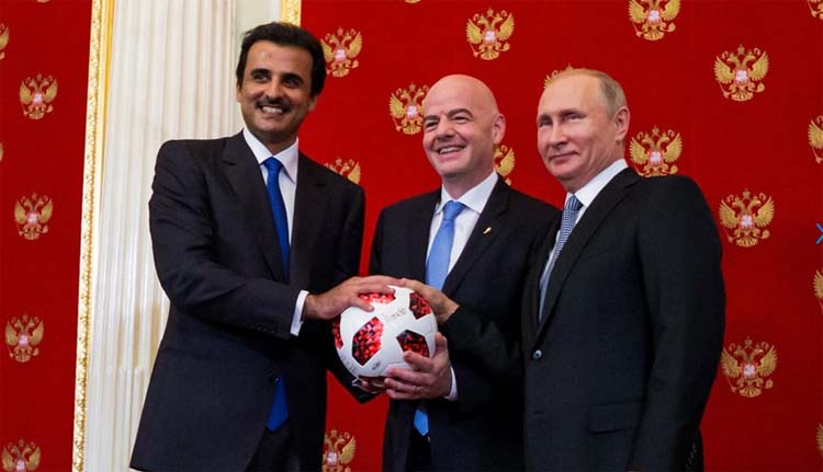 Amir of Qatar Sheikh Tamim bin Hamad Al Thani, FIFA President Gianni Infantino and President of Russia Valdimir Putin participate in a handover ceremony ahead of the 2018 FIFA World Cup Russia Final between France and Croatia at Kremlin in Moscow, Russia on Sunday.