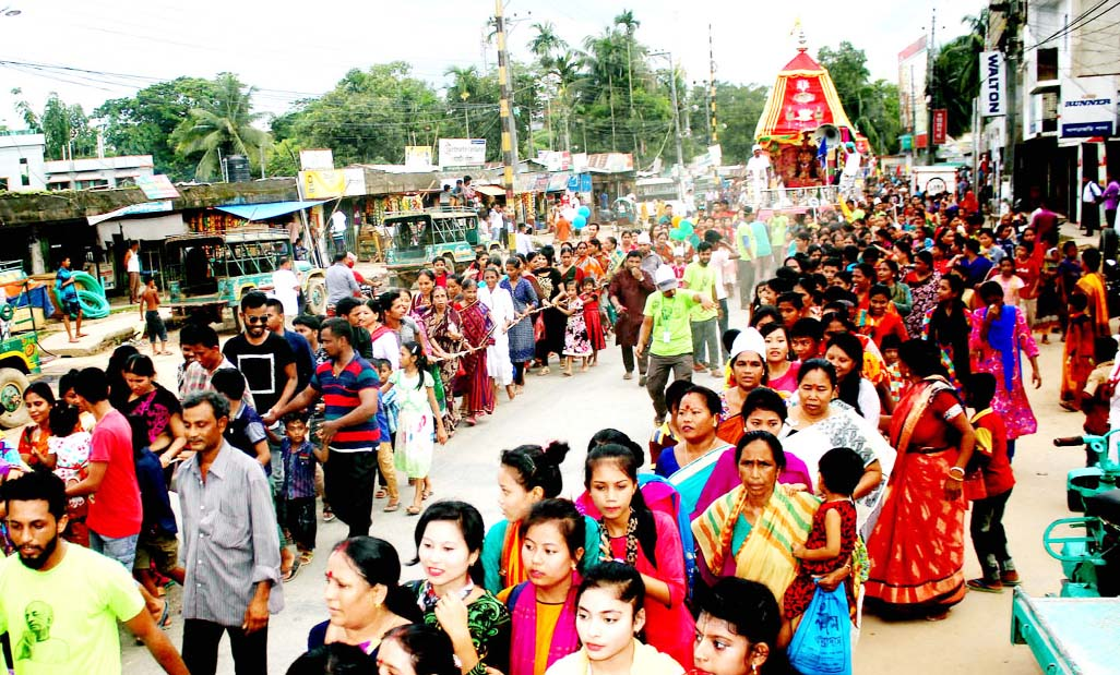 People of Hindu Communities brought out a procession at Khagrachhari on the occasion of the Ratha Yatra on Saturday.