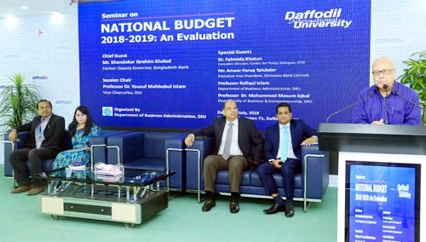 Khondokar Ibrahim Khaled, Former Deputy Governor of Bangladesh Bank addressing as the chief guest at the Seminar on 'National Budget 2018-2019 : An Evaluation' organized by the Department of Business Administration of Daffodil International University on 16 July 2018 at 71 Milonayoton of the university.