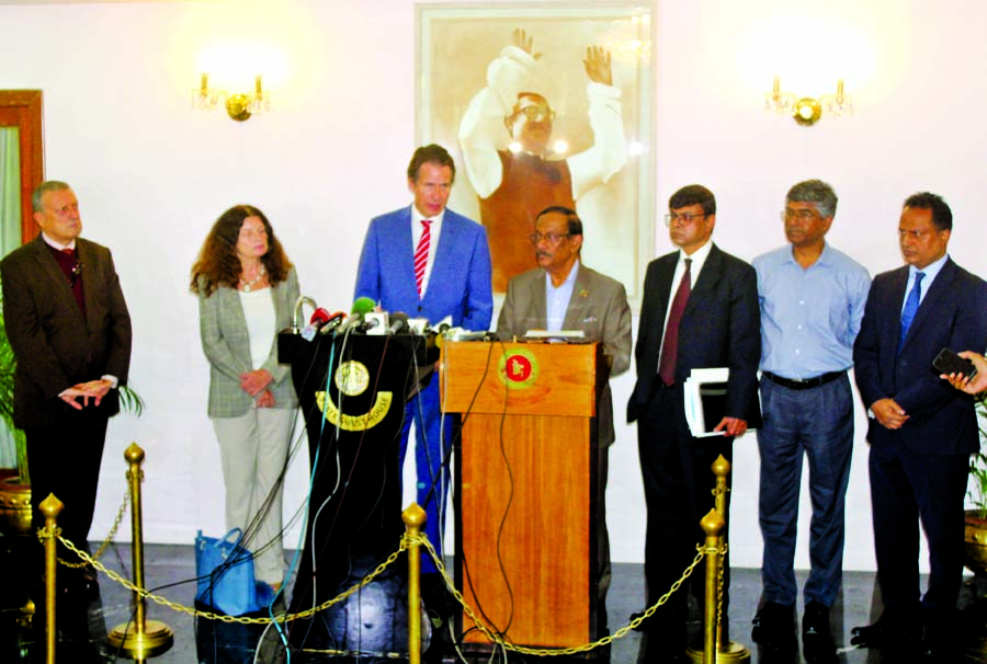 Foreign Secretary of Bangladesh M Shahidul Haque and Managing Director of Asia Pacific Region Gunnar Wigand speaking at the third foreign office consultation of European Union on 'Rohingya Crises' at the State Guest House 'Padma' in the city on Thursday.