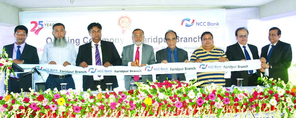 Md Nurun Newaz Salim, Chairman of NCC Bank Limited, inaugurating its 112th branch at Faridpur on Thursday. Mosleh Uddin Ahmed, Managing Director and Abdus Salam, Director of the bank were also present.