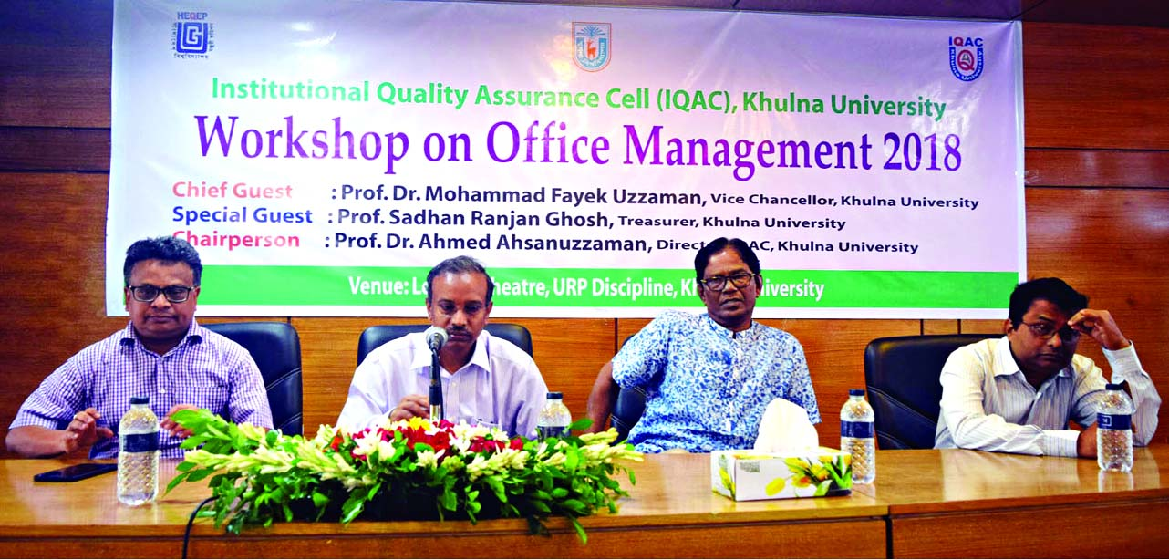 KHULNA: KU VC prof Dr Mohammad Fayek Uzzaman, VC, Khulna University speaking at a   workshop on office management on Wednesday.