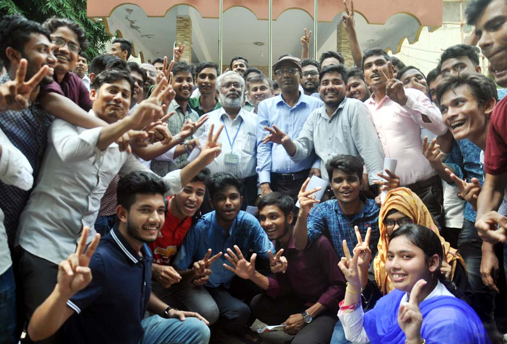 Students of Haji Mohsin College rejoicing after publishing HSC results yesterday.