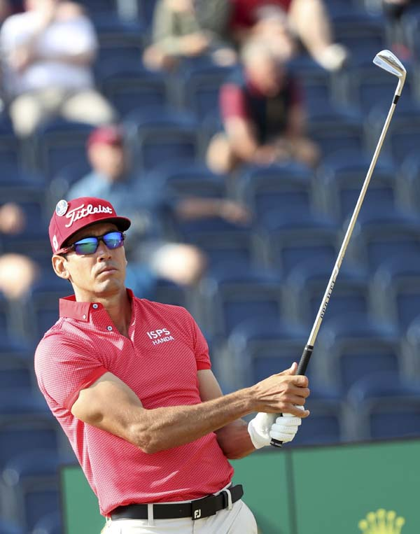 Rafael Cabrera Bello of Spain plays off the 3rd tee during the first round of the British Open Golf Championship in Carnoustie, Scotland on Thursday.
