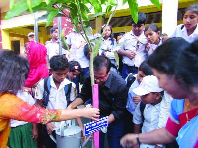 GAZIPUR: Dr Dewan Mohammad Humayan Kabir, DC, Gazipur inaugurating plantation programme at Jaydevpur Primary School premises recently.