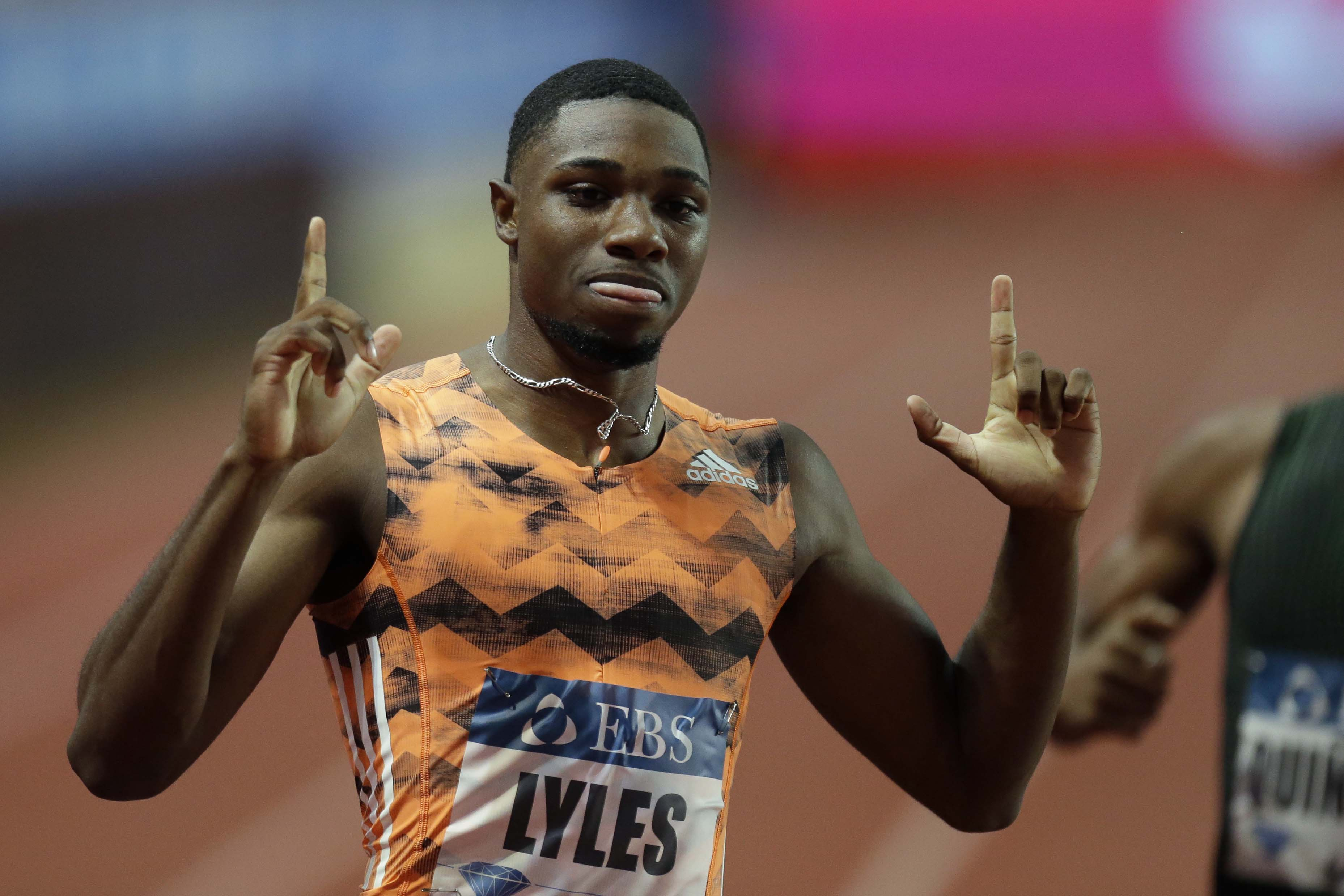 Noah Lyles from the US celebrates after winning the men's 200m race during the IAAF Diamond League Athletics meeting at the Louis II Stadium in Monaco on Friday.