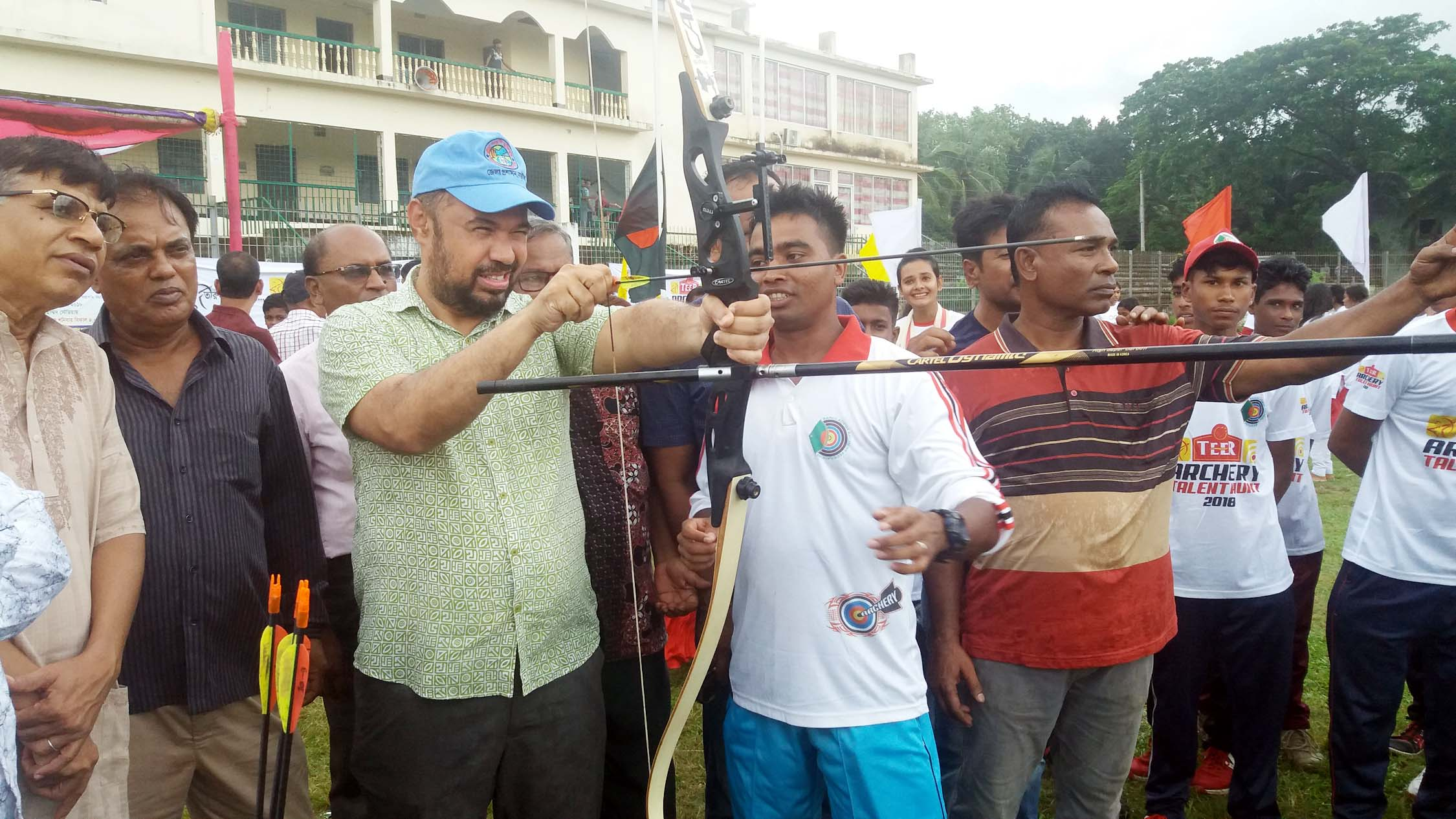 A participant of the talent hunt programme of archerers in action at the Bir Shreshtha Nur Mohammad Stadium in Narail on Saturday. Bangladesh Archery Federation has arranged the programme, while City Group has sponsored the programme.