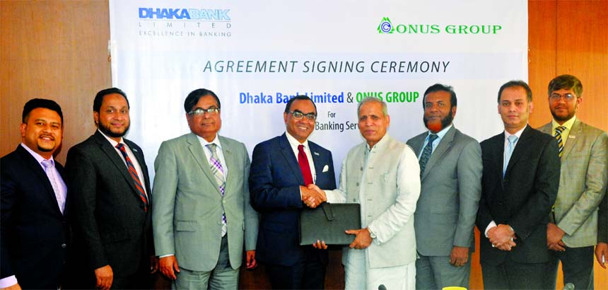 Syed Mahbubur Rahman, Managing Director of Dhaka Bank Limited and Md. Shafiul Islam (Mohiuddin) Managing Director of Onus Group and President of FBCCI are seen exchanging the MoU of Payroll Banking Services at the Bank's Head Office recently.  Khan Shahadat Hossain, Deputy Managing Director, along with other high officials of the Bank was present at the signing ceremony. Under this MoU, the Bank will provide Payroll Banking Services to the employees of Onus Group including all concerned of the group.