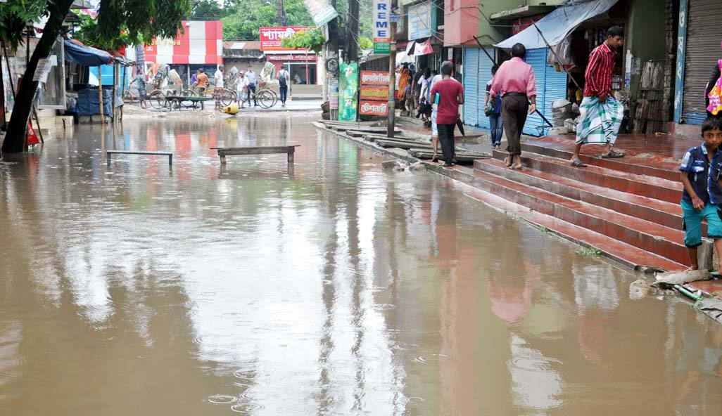Local people facing problems as  most of the roads in Chattogram City   have been  water-logged  due to  normal  rainfall. This picture was taken from New Monsurabad area yesterday.