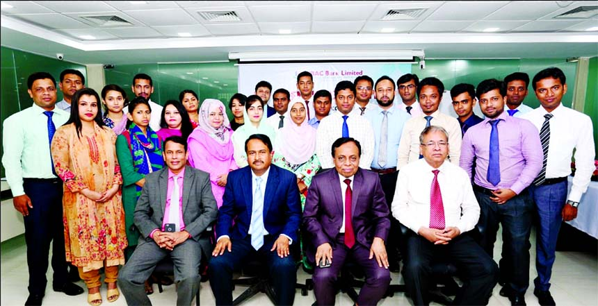 Md. Golam Faruque, Managing Director of South Bangla Agriculture and Commerce (SBAC) Bank, poses for photograph with the participants in the inauguration ceremony of the 9th Foundation Training Course organized by the Bank's Training Institute at its Head Office on Monday. Among others, the Bank's Deputy Managing Director Tariqul Islam Chowdhury, Training Institute Principal Md. Nazrul Islam and Company Secretary Md. Mokaddes Ali were also present on the occasion.