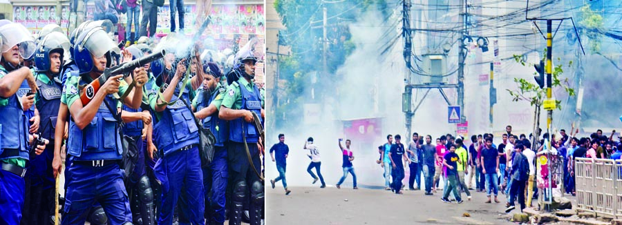 Ruling AL men join cops for attack: 120 hurt in Jigatola, Science Lab, Mirpur: Varsity students also block Shahbagh point on protest