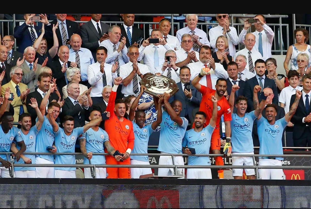 Sergio Aguero double seals Community Shield for Manchester City