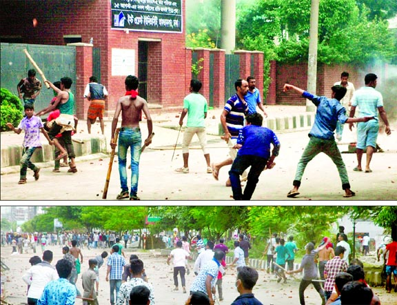 Cops open fire, spread hot water in Shahbagh: Several dozens of students injured: EWU, NSU declared campuses shut for 2 days, police, outsiders swoop on protesters