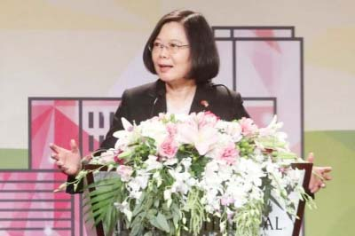 Taiwan leader Tsai Ing-wen makes rare US speech