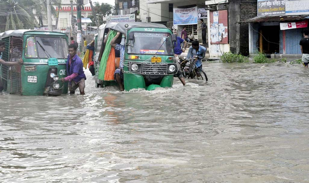 Some of the areas of Port City have been water- logged due to tidal water. This snap was taken from Halisahar yesterday.