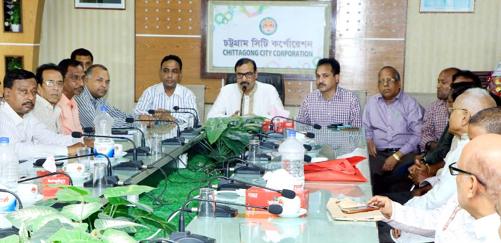 CCC Mayor A J M Nasir Uddin speaking at a view exchange meeting of  Janmashtami  Udjapon Committee as Chief Guest on Monday.