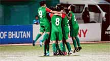 Players of Bangladesh Under-15 National Women`s Football team celebrating after crushing Bhutan Under-15 National Women's by five goals to nil in the semi-final of the SAFF Under-15 Women's Championship at Thimphu, the capital city of Bhutan on Thursday.