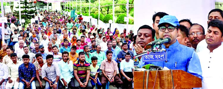 Dhaka South City Corporation (DSCC) Mayor Sayeed Khokon speaking at a gathering of cleaners on quick disposal of wastes of sacrificial animals yesterday.
