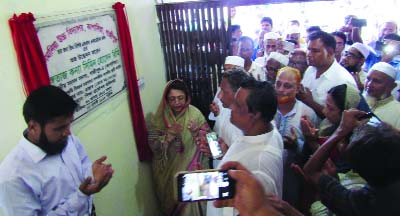 GAZIPUR: Chairman of the Standing Committee on Cultural Affairs Ministry Simin Hossain Rimi MP offering Munajat after inaugurating extending academic building of Sonmania High School in Kapasia upazila  recently.