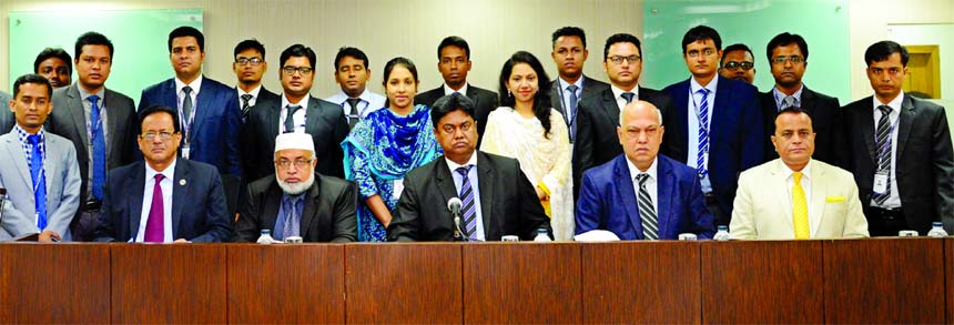 Mosleh Uddin Ahmed, Managing Director of NCC Bank Limited, poses with the participants of the 72nd Foundation Training Course for its officers at the Bank's Training Institute in the city recently. Khondoker Nayeemul Kabir, Md. Habibur Rahman, DMDs, J H Shahedi, Head of HR of the Bank and Jagadish Chandra Debnath, Principal of the training institute were also present.