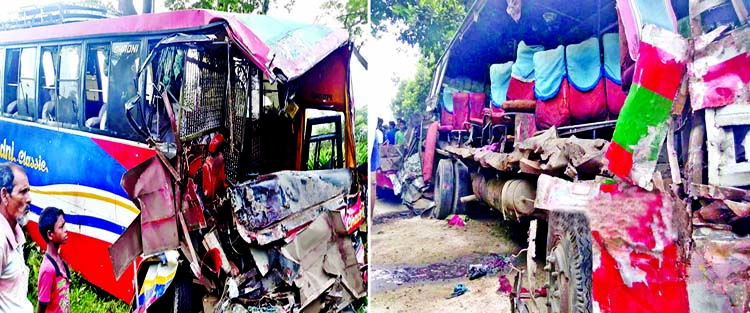 13 including 5 women perished as buses collide head on: 100 injured