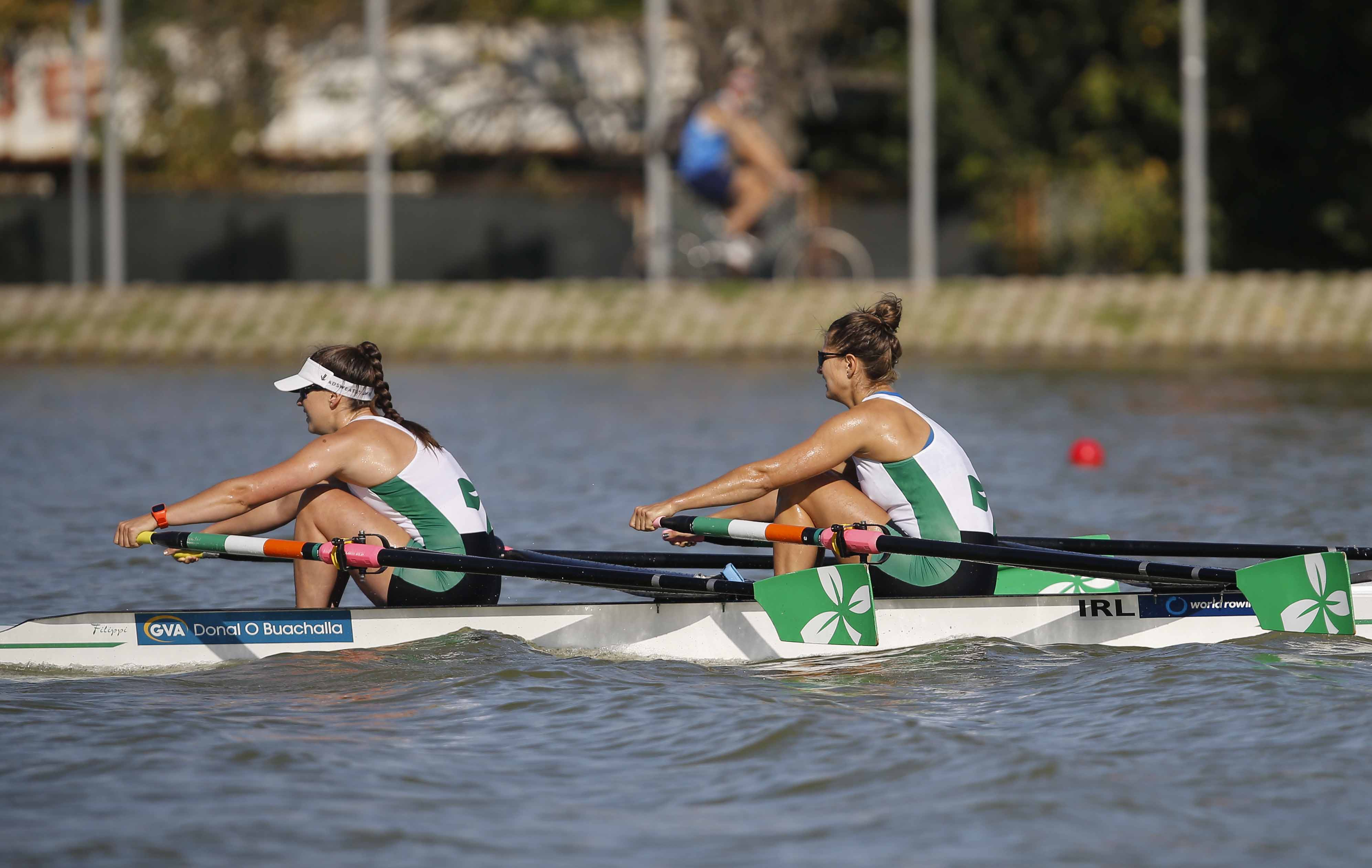 Ireland's Monika Dukarska (left) and Aileen Crowley compete in the final of the Women's Double Skulls at the World Rowing Championships in Plovdiv, Bulgaria on Sunday.