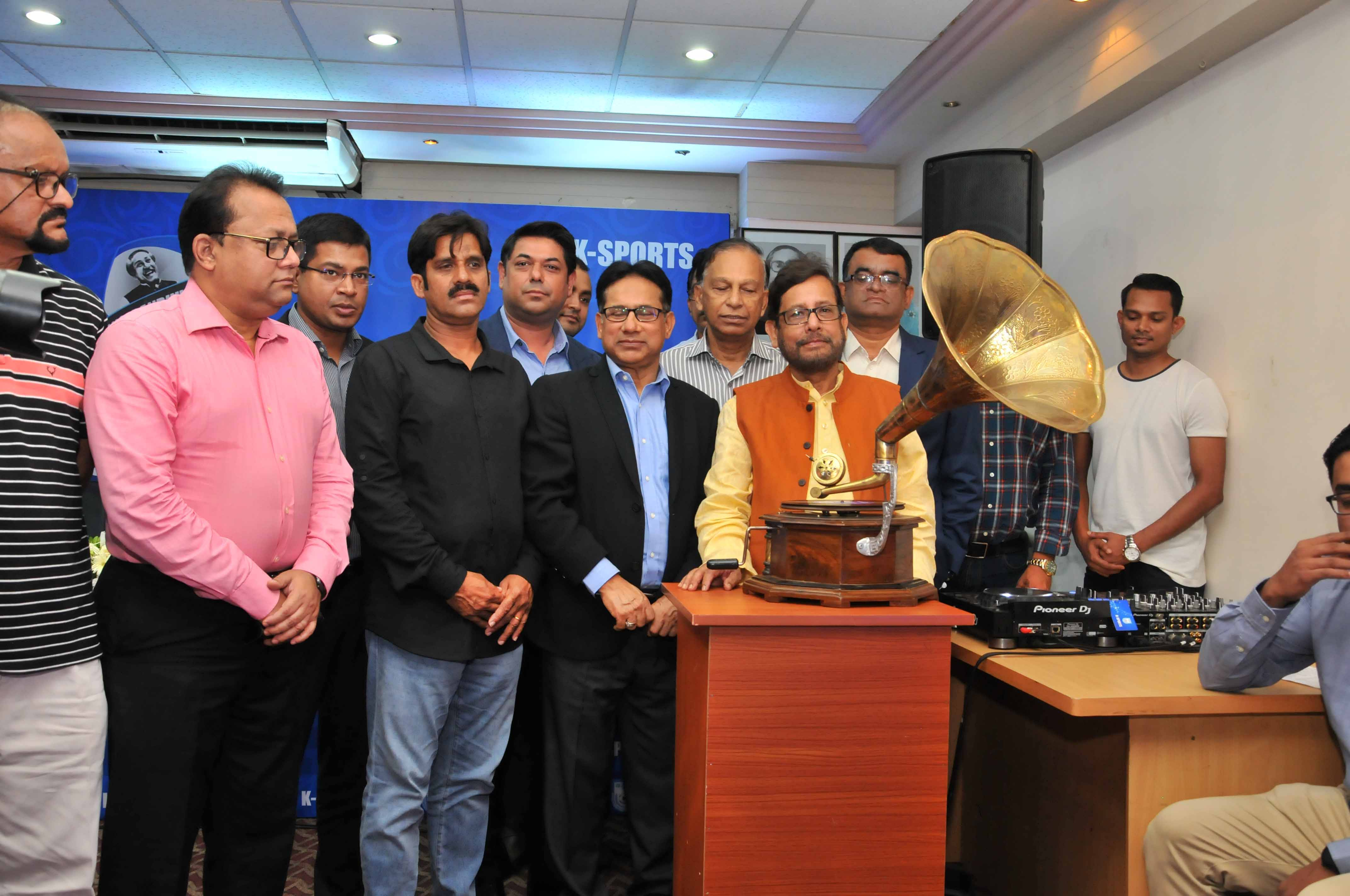 A scene from the theme song launching ceremony of the Bangabandhu Gold Cup International Football Tournament, at the conference room in Bangladesh Football Federation House on Sunday. Minister for Cultural Affairs Asaduzzaman Noor was the chief guest on the occasion.