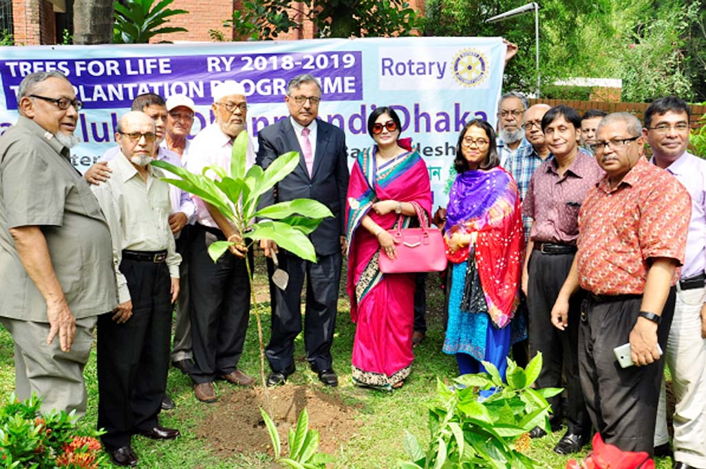 Prof Dr Saiful Islam, Vice-Chancellor, BUET as chief guest inaugurated a tree plantation campaign' 2018 by planting a sapling organized by the Rotary Club of Dhanmondi Dhaka on Saturday at the east side of Dr MA Rashid Bhaban of BUET campus premises. Special Guest of the event was Rtn Md. Samsul Alam Mallick, President Rotary Club of Dhanmondi Dhaka. Among others, Rtn Asstt Governor Rtn IPP Farhana Ferdous, PP Prof Dr Golam Rahman, PP Yusuff Harun Ashrafi, PP Md. Nurul Haque, PP Engr Abdul Qayum Khan, PP AM Rafiqur Rahman, Rtn Mir Masharraf Husain and Dr Ahsanul Kabir and Dr Samsul Haque, Professor of Dept of Civil Engineering, Dr Shaikh Anowarul Fattah and Dr Samia Subrina, Prof Dept of EEE, BUET, Comptroller, Md. Jasim Uddin Ahmed, FCMA, Chief Engineer, Engr Md. Nurul Momen, Dr Engr AKM Jahangir Alam, BUET were also present on the occasion.